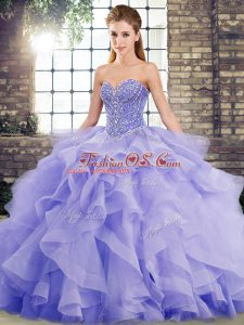 Tulle Sweetheart Sleeveless Brush Train Lace Up Beading and Ruffles Quinceanera Gown in Lavender