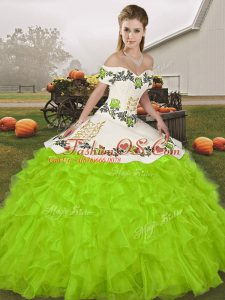 Pretty Yellow Green Ball Gowns Off The Shoulder Sleeveless Organza Floor Length Lace Up Embroidery and Ruffles 15 Quinceanera Dress