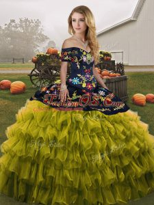 Olive Green Ball Gowns Organza Off The Shoulder Sleeveless Embroidery and Ruffled Layers Floor Length Lace Up 15th Birthday Dress