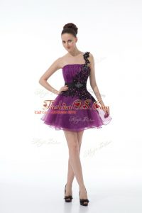 Eggplant Purple A-line Beading and Lace and Appliques Cocktail Dresses Zipper Organza Sleeveless Mini Length