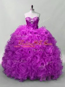 Sweetheart Sleeveless Organza and Fabric With Rolling Flowers Quince Ball Gowns Sequins Lace Up