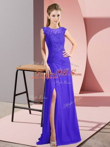 Amazing Purple Mother Of The Bride Dress Prom and Party and Military Ball with Beading Bateau Sleeveless Zipper