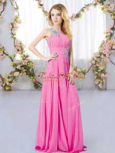 Rose Pink Empire One Shoulder Sleeveless Chiffon Floor Length Zipper Beading Bridesmaid Dresses