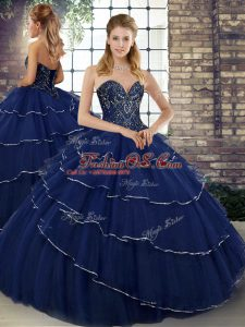 Deluxe Tulle Sweetheart Sleeveless Brush Train Lace Up Beading and Ruffled Layers 15 Quinceanera Dress in Navy Blue