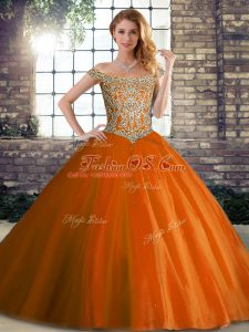 New Arrival Orange Red Off The Shoulder Lace Up Beading 15 Quinceanera Dress Brush Train Sleeveless