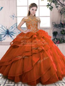 Glorious High-neck Sleeveless Lace Up Quinceanera Dress Orange Organza