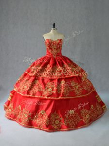 Pretty Red Sleeveless Floor Length Embroidery and Ruffled Layers Lace Up Quinceanera Dress