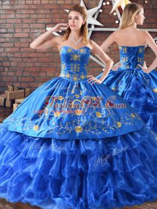 Blue Satin and Organza Sleeveless Floor Length 15th Birthday Dress Embroidery