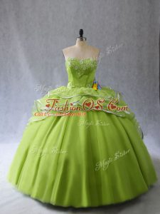 Fabulous Yellow Green Ball Gowns Organza and Tulle Sweetheart Sleeveless Appliques and Ruffles Lace Up Vestidos de Quinceanera Brush Train