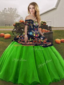 Discount Off The Shoulder Sleeveless Lace Up Sweet 16 Quinceanera Dress Green Tulle