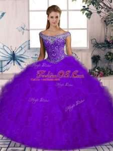 Purple Quince Ball Gowns Tulle Brush Train Sleeveless Beading and Ruffles
