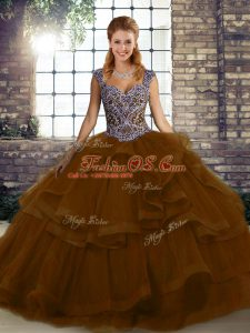 Brown Straps Lace Up Beading and Ruffles Quinceanera Dresses Sleeveless