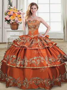 Rust Red Sweetheart Lace Up Ruffles and Ruffled Layers Vestidos de Quinceanera Sleeveless