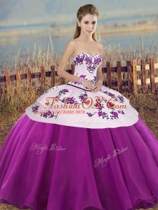 Glamorous Tulle Sweetheart Sleeveless Lace Up Embroidery and Bowknot 15 Quinceanera Dress in White And Purple