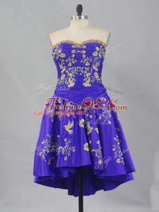 Purple Lace Up Sweetheart Embroidery Party Dress Wholesale Sleeveless