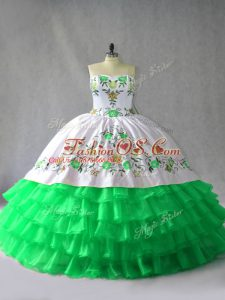 Green Sleeveless Floor Length Embroidery and Ruffled Layers Lace Up 15 Quinceanera Dress