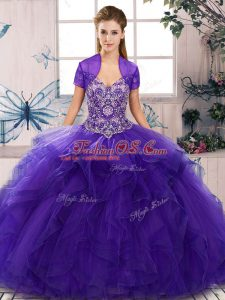 Custom Fit Purple Ball Gowns Off The Shoulder Sleeveless Tulle Floor Length Lace Up Beading and Ruffles 15 Quinceanera Dress