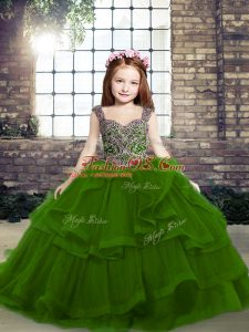Enchanting Sleeveless Tulle Floor Length Lace Up Glitz Pageant Dress in Green with Beading and Ruffles