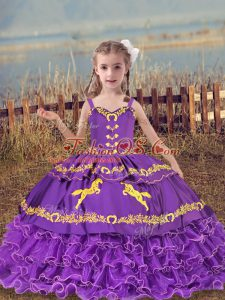 Organza Sleeveless Floor Length Kids Formal Wear and Beading and Embroidery and Ruffled Layers