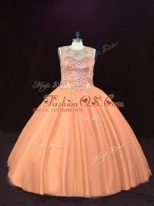 Peach Ball Gowns Scoop Sleeveless Tulle Floor Length Lace Up Beading Quinceanera Dress