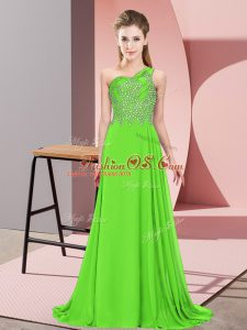 Sexy Green Chiffon Side Zipper Prom Dress Sleeveless Floor Length Beading