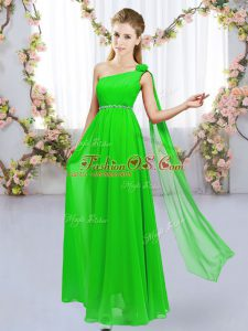 Best Selling Chiffon Lace Up One Shoulder Sleeveless Floor Length Quinceanera Court Dresses Beading and Hand Made Flower
