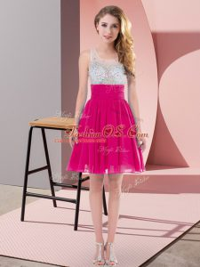 Enchanting Fuchsia Sleeveless Beading Mini Length Quinceanera Court of Honor Dress