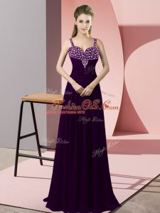 Dramatic Dark Purple Celebrity Dress Prom and Party with Beading Straps Sleeveless Zipper