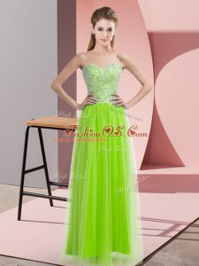 Simple Yellow Green Tulle Lace Up Prom Dress Sleeveless Floor Length Beading