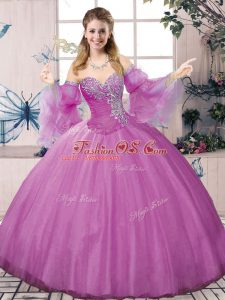 Comfortable Tulle Halter Top Sleeveless Lace Up Beading Sweet 16 Quinceanera Dress in Lilac