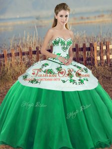 Gorgeous Green Lace Up Sweetheart Embroidery and Bowknot Quince Ball Gowns Tulle Sleeveless