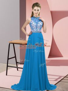 Charming Blue Backless Halter Top Beading Dress for Prom Chiffon Sleeveless Brush Train
