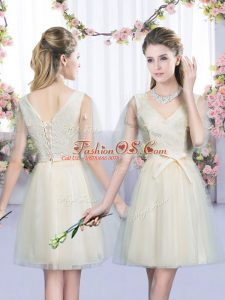 Classical Mini Length Champagne Bridesmaid Dresses Tulle Sleeveless Bowknot