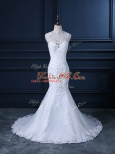 Free and Easy White Mermaid Tulle Scoop Sleeveless Beading and Lace Backless Wedding Dress Brush Train