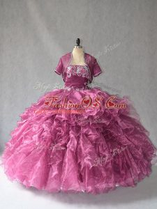 New Arrival Burgundy Lace Up 15 Quinceanera Dress Beading and Ruffles Sleeveless Floor Length