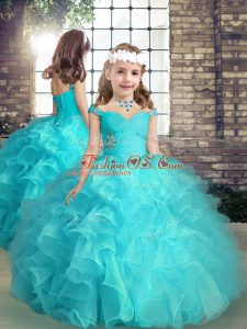 Elegant Straps Sleeveless Organza Evening Gowns Beading and Ruffles Lace Up