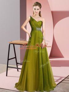 Most Popular One Shoulder Sleeveless Mother Of The Bride Dress Brush Train Beading Olive Green Chiffon