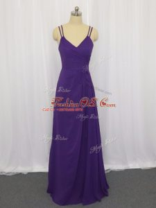 Sophisticated Sleeveless Zipper Floor Length Ruching Mother Of The Bride Dress