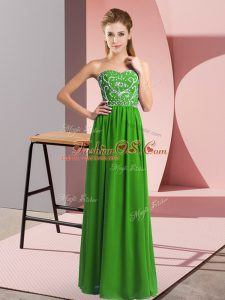 Green Lace Up Mother Of The Bride Dress Beading Sleeveless Floor Length