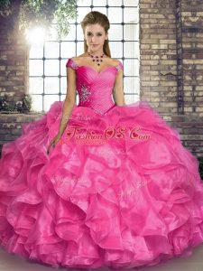 Fantastic Hot Pink Organza Lace Up Sweet 16 Dress Sleeveless Floor Length Beading and Ruffles