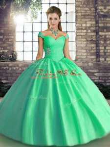 Admirable Turquoise Off The Shoulder Neckline Beading Sweet 16 Dress Sleeveless Lace Up