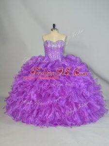Custom Made Purple Organza Lace Up Sweetheart Sleeveless Floor Length Sweet 16 Dress Beading and Ruffles