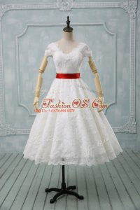 Artistic Short Sleeves Tea Length Lace and Belt Zipper Wedding Dresses with White
