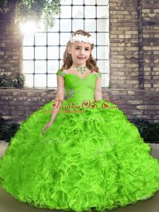Beautiful Straps Neckline Beading and Ruffles Pageant Gowns For Girls Sleeveless Lace Up