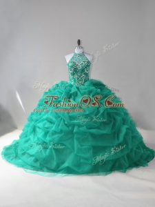 Turquoise Ball Gowns Beading and Pick Ups 15 Quinceanera Dress Lace Up Tulle Sleeveless