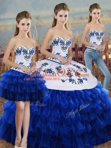 Sexy Royal Blue Three Pieces Embroidery and Ruffled Layers and Bowknot Vestidos de Quinceanera Lace Up Organza Sleeveless Floor Length