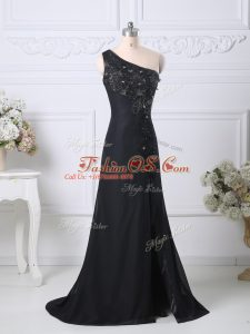 Enchanting Black Side Zipper One Shoulder Beading and Lace Juniors Evening Dress Taffeta Sleeveless Brush Train