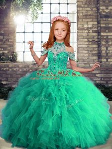 Turquoise Ball Gowns Beading and Ruffles Pageant Dress Lace Up Tulle Sleeveless Floor Length