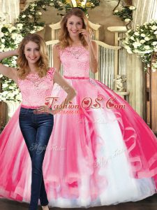 Shining Hot Pink Tulle Clasp Handle Ball Gown Prom Dress Sleeveless Floor Length Lace and Ruffles
