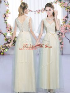 Wonderful Floor Length Lace Up Damas Dress Champagne for Wedding Party with Lace and Bowknot